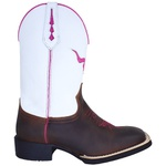 Bota Texana Feminina em Couro Cano Branco Boi Rosa TexasKing