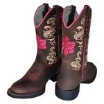Bota Texana Feminina Flor Pink Bico Redondo Couro TexasKing