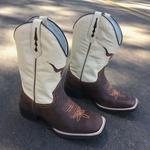 Bota Texana Masculina em Couro Boi Bico Quadrado TexasKing