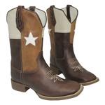 Bota Texana Masculina Bandeira Café Texas em Couro