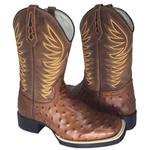Bota Texana Masculina Réplica de Avestruz Bordada Couro Bico Quadrado TexasKing