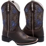 Bota Texana Masculina em Couro Bordado Índio Azul Bico Quadrado TexasKing