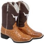 Bota Texana Replica de Avestruz Marrom Couro Bico Quadrado Copia