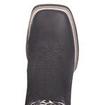 Bota Texana Masculina em Couro Preto Solado Preto Bico Quadrado TexasKing