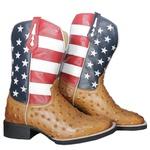 Bota Texana Masculina Estados Unidos Réplica de Avestruz em Couro TexasKing