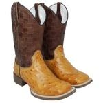 Bota Texana Masculina Réplica de Avestruz em Couro
