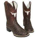 Bota Texana Escamada Bico Redondo em Couro