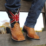 Bota Texana Masculina Inglaterra Réplica de Avestruz em Couro TexasKing