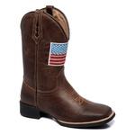 Bota Texana Masculina Bandeira em Couro