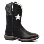 Bota Texana Masculina Bandeira Texas em Couro