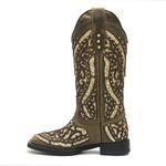 Bota Texana Feminina Roper Dallas Tabaco Craquelê Ouro
