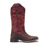 Bota Texana Feminina Roper Dallas Castor e Vermelho