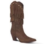 Bota Texana Feminina Couro Crazy Horse Havana Franjas E Strass