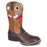 Bota Texana Masculina Chile Couro Floater Fóssil Chocolate E Croissant