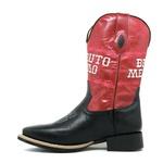 Bota Texana Masculina Couro Floater Preto E Fóssil Vermelho