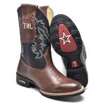 Bota Texana Masculina Bico Redondo em Couro