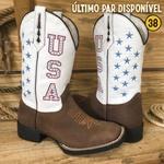 Bota Texana Cano Branco U.S.A em Couro - Último Par 38