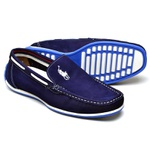 Sapato Casual Masculino Mocassim Docksider Couro Polo Azul