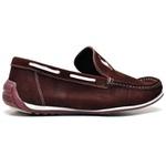 Sapato Casual Masculino Mocassim Docksider Couro Polo Vermelho Escuro