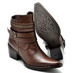 Bota Country Feminina Bico Fino Top Franca Shoes Caramelo