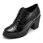 Bota Coturno Feminino Di Confort Ankle Boot Verniz Preto