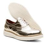 Sapato Social Feminino Top Franca Shoes Oxford Spechio Ouro Light