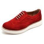 Sapato Social Feminino Oxford Camurça Vermelha