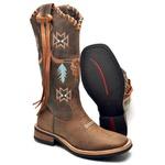 Bota Country Top Franca Shoes em Couro Fossil Café