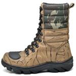 Bota Coturno Militar Top Franca Shoes Bege Camuflada