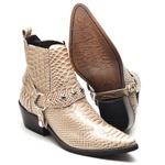 Bota Country Masculina Bico Fino Top Franca Shoes Dourado