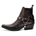 Bota Country Masculina Bico Fino Top Franca Shoes Cafe Avestruz