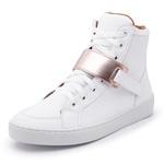 Sapatênis Feminino Cano Alto Top Franca Shoes Branco / Dourado