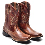 Bota Country Masculina Bico Quadrado Top Franca Shoes Mel / Conhaque