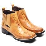 Bota Country Masculina Bico Quadrado Top Franca Shoes Avestruz Banana