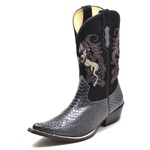Bota Country Bico Fino Top Franca Shoes Anaconda Grafite / Preto