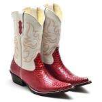 Bota Country Bico Fino Top Franca Shoes Anaconda Vermelho / Marfim