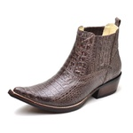 Botina Bota Country Bico Fino Top Franca Shoes Jacare Cafe