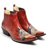 Botina Bota Country Bico Fino Top Franca Shoes Verniz Vermelho