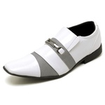 Sapato Social Masculino Top Franca Shoes Verniz Branco / Cinza