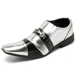 Sapato Social Masculino Top Franca Shoes Verniz Preto / Prata