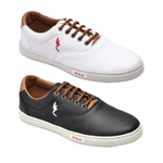 Kit 2 Pares Sapatênis Casual Top Franca Shoes Branco / Preto