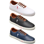 Kit 3 Pares Sapatênis Casual Top Franca Shoes Branco / Preto / Azul