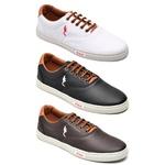 Kit 3 Pares Sapatênis Casual Top Franca Shoes Branco / Preto / Café