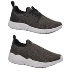 Kit 2 Pares Tênis Esporte Fitnes Top Franca Shoes Cinza / Cinza