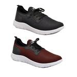 Kit 2 Pares Tênis Esporte Fitnes Top Franca Shoes Preto / Vinho