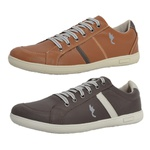 Kit 2 Pares Sapatênis Casual Top Franca Shoes Camel / Café