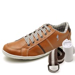 Kit Sapatênis Casual Top Franca Shoes Camel + Cinto e Meia