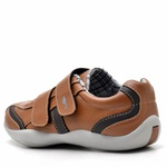 Kit Sapatênis Infantil Casual Top Franca Shoes Camel + Cinto e Meia