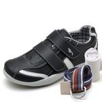 Kit Sapatênis Infantil Casual Top Franca Shoes Preto + Cinto e Meia