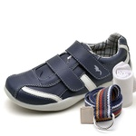 Kit Sapatênis Infantil Casual Top Franca Shoes Azul + Cinto e Meia
